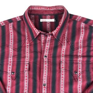 Levi's Men's striped Pearl snap western shirt med